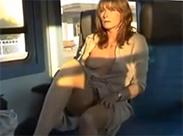 Nude in public im Zug